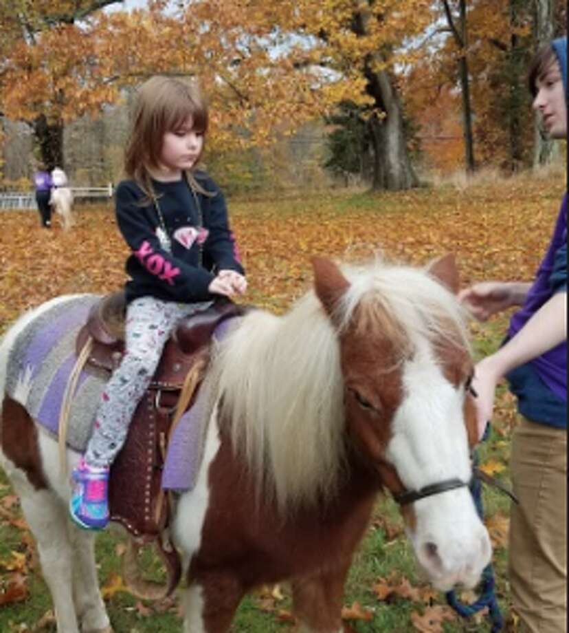 Phoebe Bovay of Stamford, 4, rode a pony. — Sandra Diamond Fox photo
