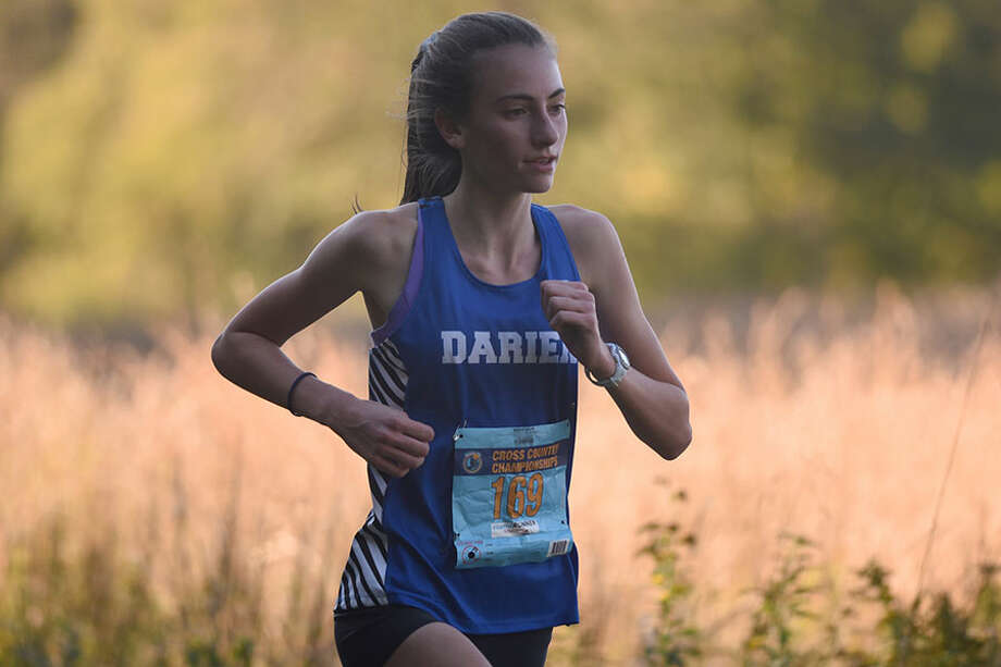 Freshman Mairead Clas led the Wave with a fifth-place finish at the CIAC Class L championships last Friday in Wickham Park. — Dave Stewart photo