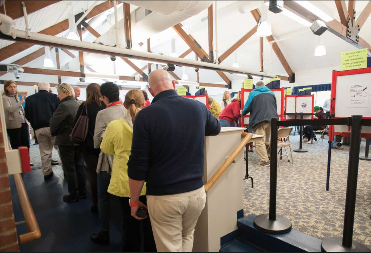 A busy Election Day for Darien. Voters cast their votes at 35 Leroy Ave. - Laureen Vellante photos