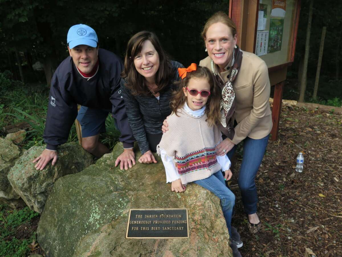 Ward Glassmeyer, Chairman of The Darien Foundation Board, Sarah Woodberry Executive Director of The Darien Foundation, Catherine Gies, Brooke Gies Board Member at The Darien Foundation at the plaque commemorating the two grants given by The Darien Foundation to the DCA Bird Sanctuary.