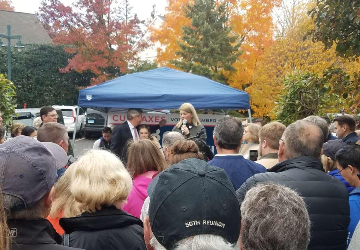 Darien First Selectman Jayme Stevenson speaks to the crowd Saturday at Grove Street Plaza. - Sandra Diamond Fox photo