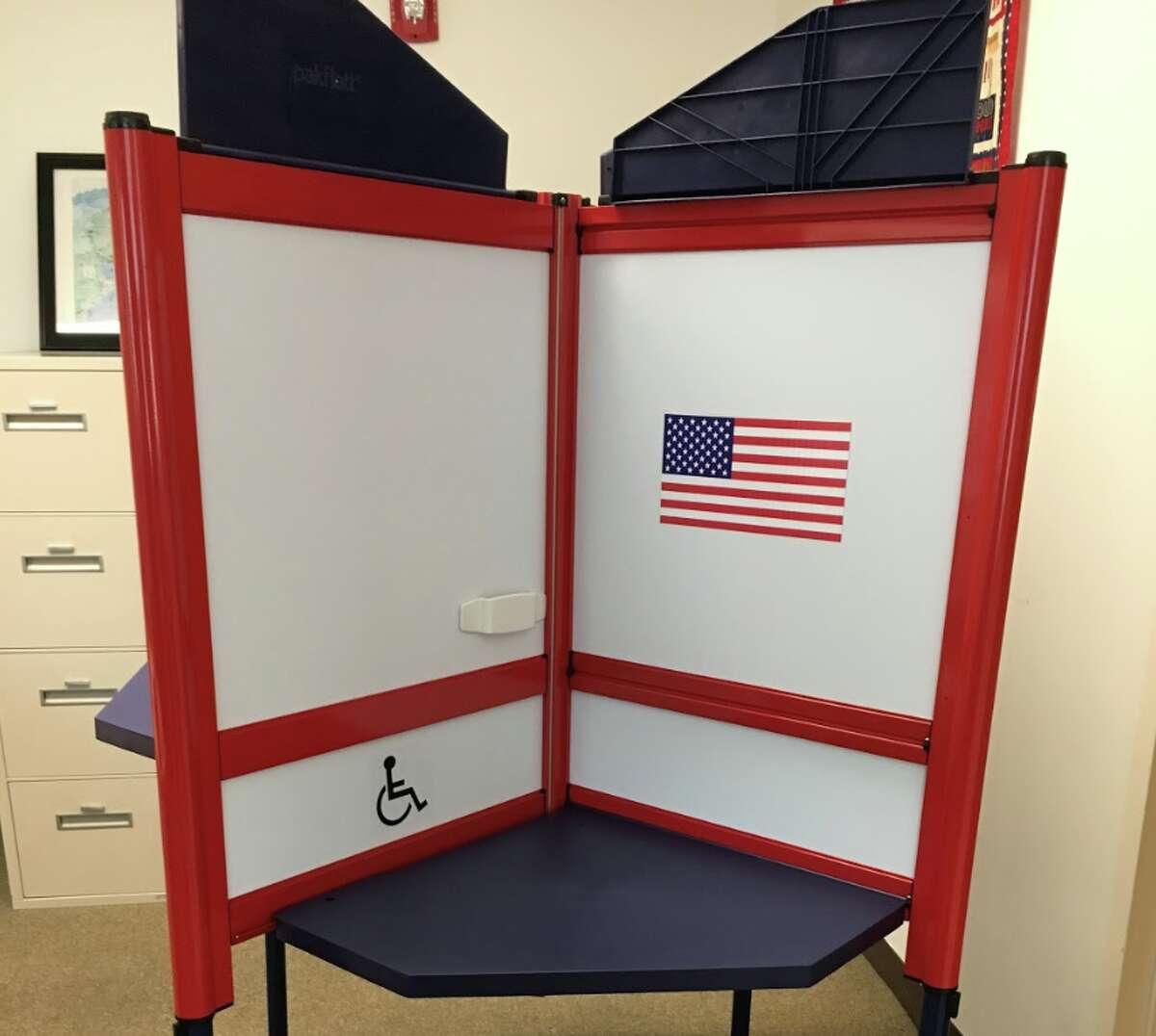 Darien's new voting booths. - Greg Marku photo