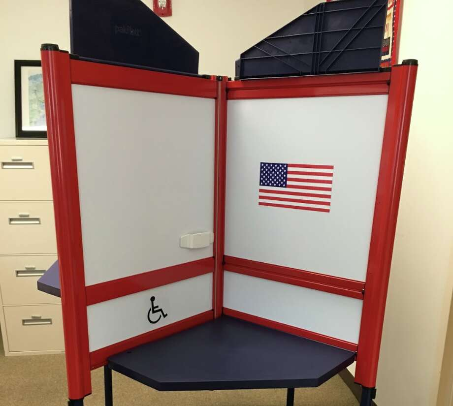 Darien's new voting booths. — Greg Marku photo