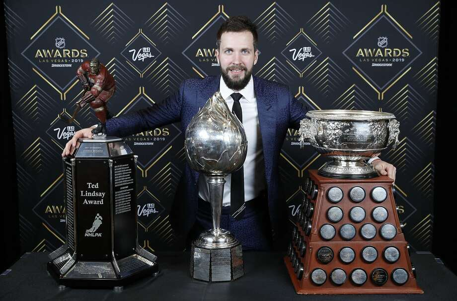 Tampa Bay's Nikita Kucherov picked up the Ted Lindsay Award, Hart Memorial Trophy and the Art Ross Trophy. Photo: John Locher / Associated Press