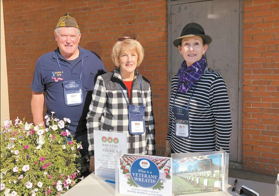 VFW member and Monuments & Ceremonies Commission member Allan Bixler; DAR and Monuments & Ceremonies Commission member Karen K. Polett and DAR member Carol Wilder-Tamme.
