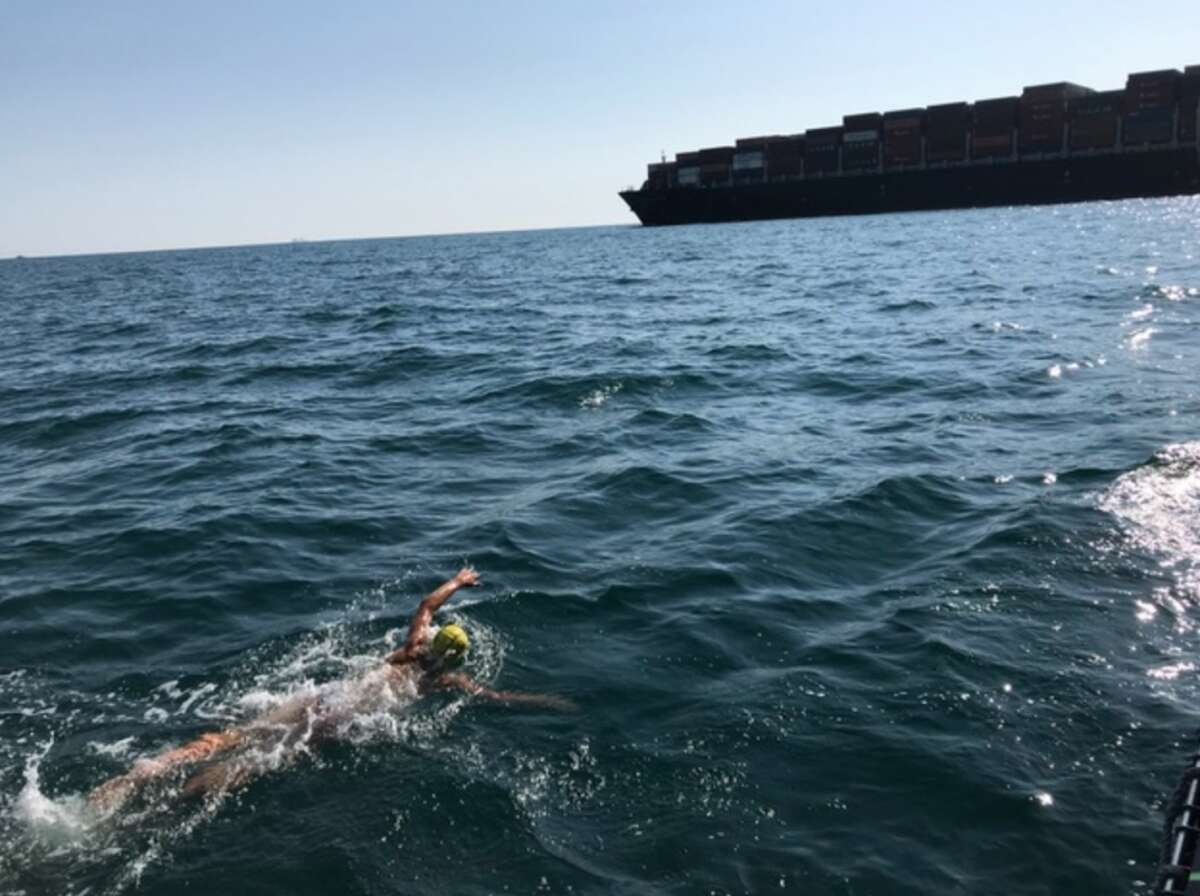 Darien High School junior Davis Tuzinkiewicz recently swam the English Channel.