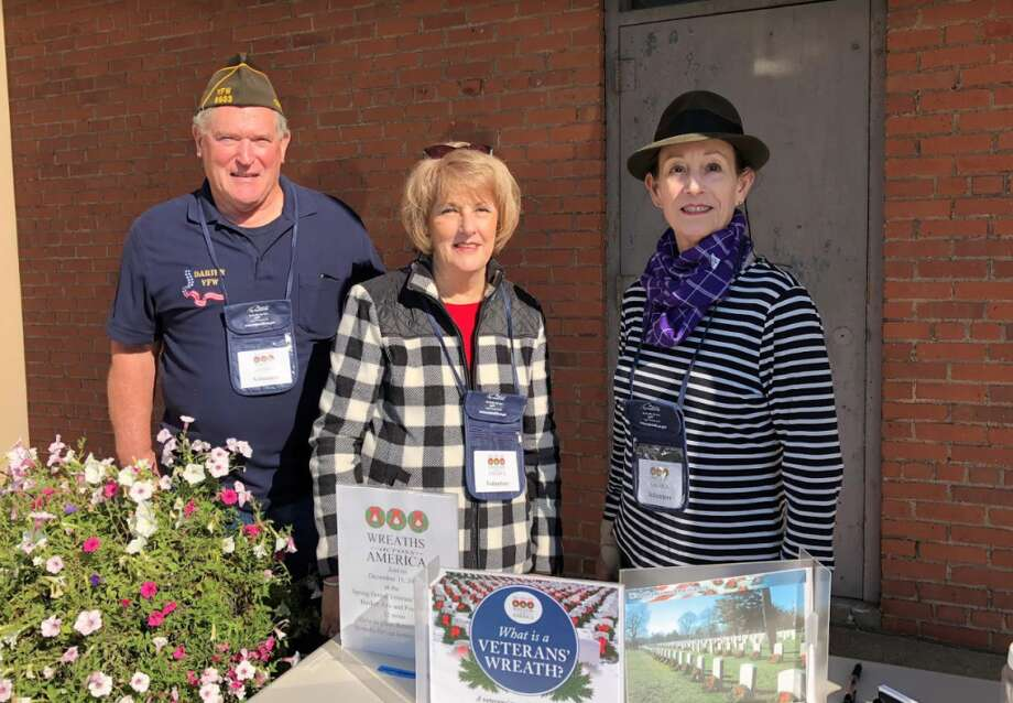 VFW member and Monuments & Ceremonies Commission member Allan Bixler; DAR and Monuments & Ceremonies Commission member, Karen K. Polett and DAR member Carol Wilder-Tamme.