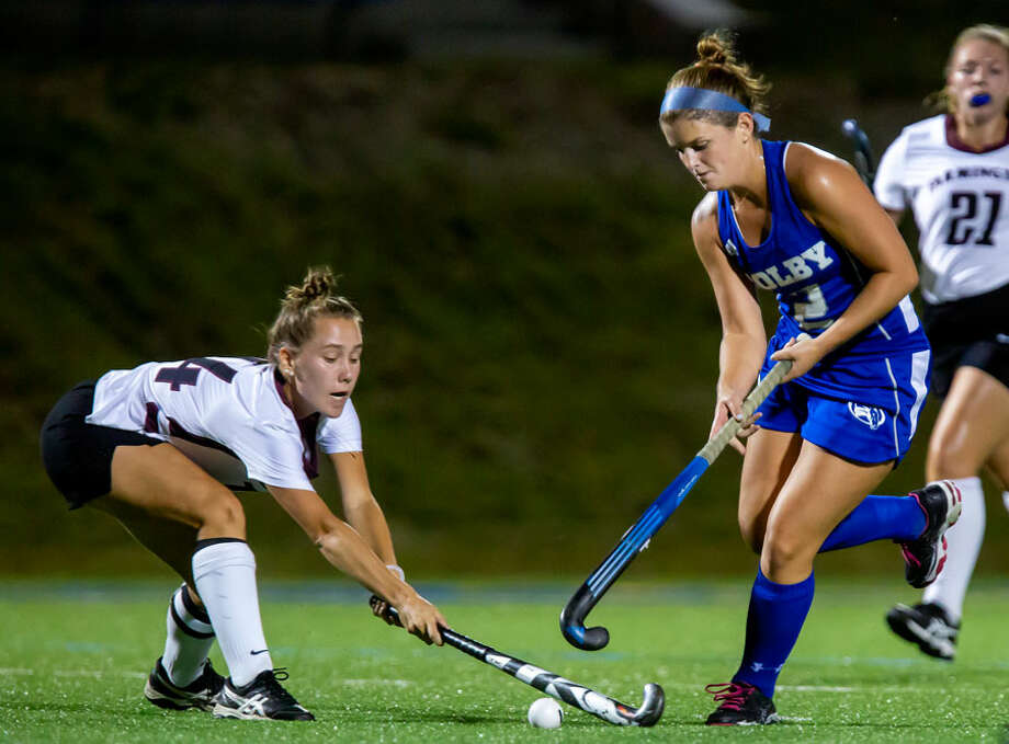 Georgia Cassidy in action for the Colby field hockey team. — Colby Athletics photo / Ashley L. Conti 2018