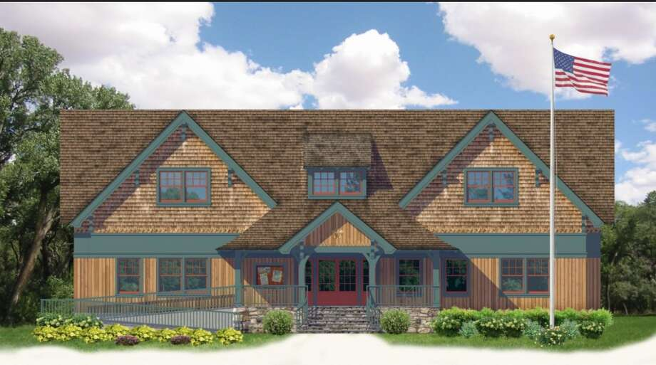 A rendering of the new Boy Scout cabin to replace the current cabin in Darien on West Avenue.