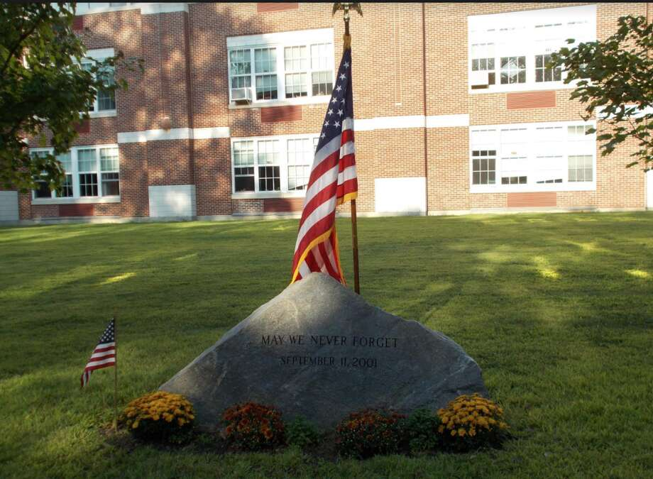 The town's 9/11 memorial behind Middlesex Middle School