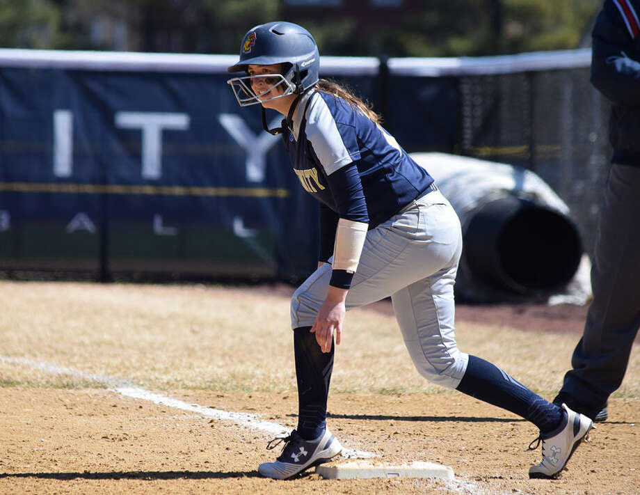 Darien's Cassidy Schiff on base for the Trinity College Bantams' softball team this spring. Schiff earned a starting spot at third base during the spring, and finished the campaign with a .391 batting average. — Trinity College Athletics photo