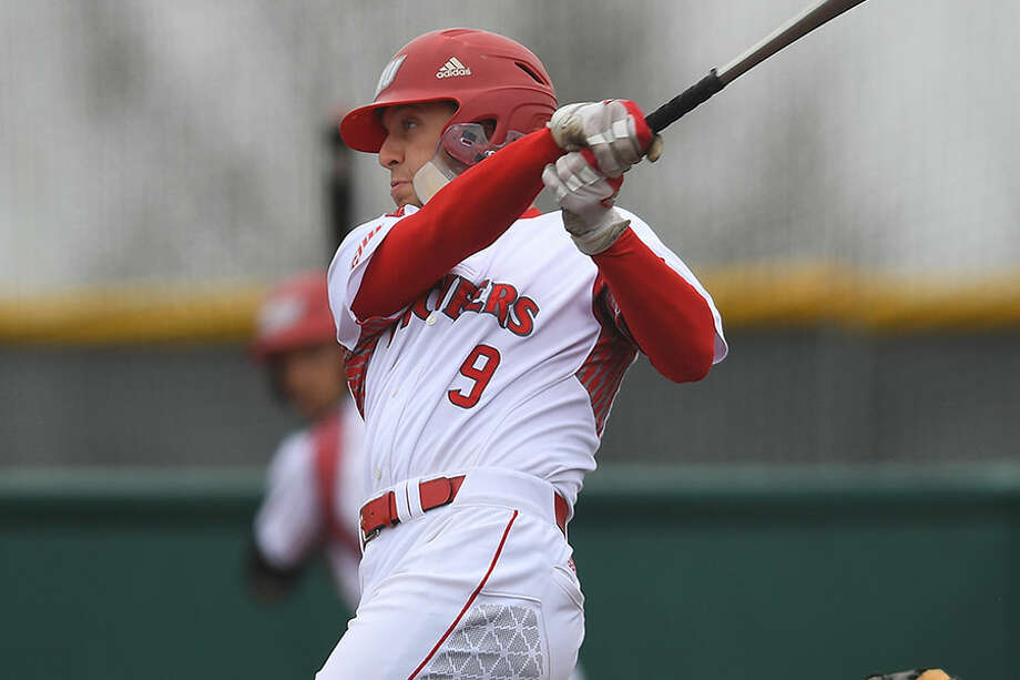 Sacred Heart University's Jake Frasca follows through on a swing during one of the Pioneers' games this spring. — Steve McLaughlin/Sacred Heart Athletics photo