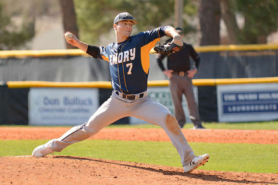 Darien's Richard Brereton fires in a pitch for the Emory Eagles last spring. — Emory Athletics Photo / Dave Hilbert, d3photography.com