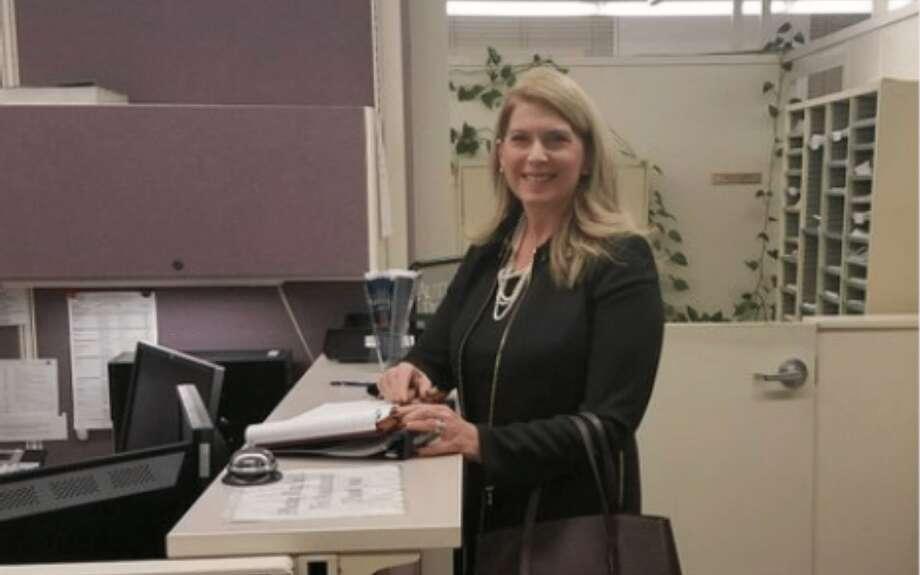 First Selectman Jayme Stevenson filing her paperwork to run for lieutenant governor.