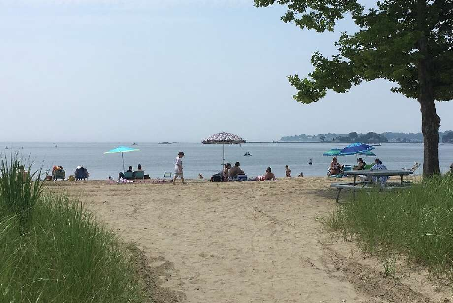 Weed Beach in Darien looking southwest toward Long Island on a hazy July 4. Shippan Point in Stamford is seen at right. — Greg Reilly photo