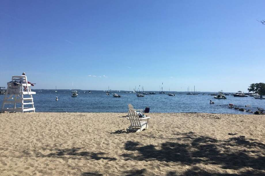 The New Canaan bike rider's view of part of Pear Tree Point Beach and Long Island Sound upon arrival Saturday, June 16, 4 p.m. — Greg Reilly photo