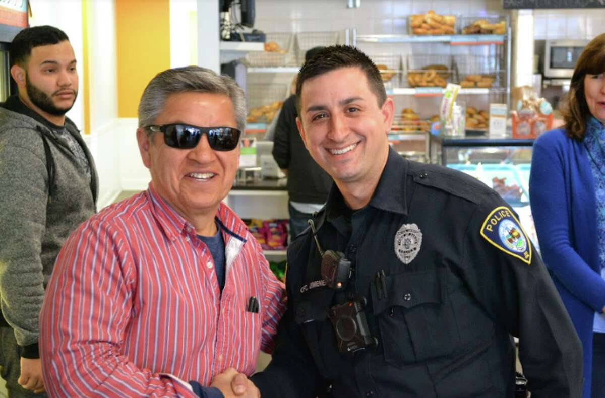 """Upper Crust was the scene for the department's inaugural """"Coffee with a Cop"""" with Officer Christopher Jimenez there to talk with residents."""