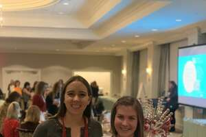 From left, Sarah Paquet and Katie Flynn are two of the six founders of a new Darien nonprofit called 100 Who Care Darien, which raises money for charities.