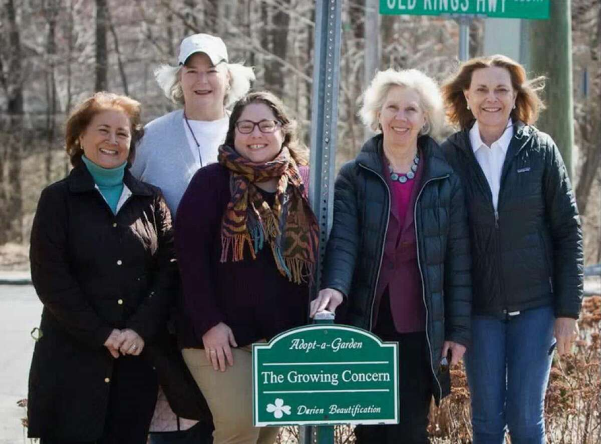 Darien Beautification Commission Members from left to right, Tracey Whitehead, Cristina Orsi-Lirot,Susie Skerrett,Sue Okie and Sandy Drimal. Missing are Elizabeth Hall and Christy Munro as well as Chris McGoldrick of the Growing Concern who tends this Adopt a Garden Island. Missing: Julia Arstop