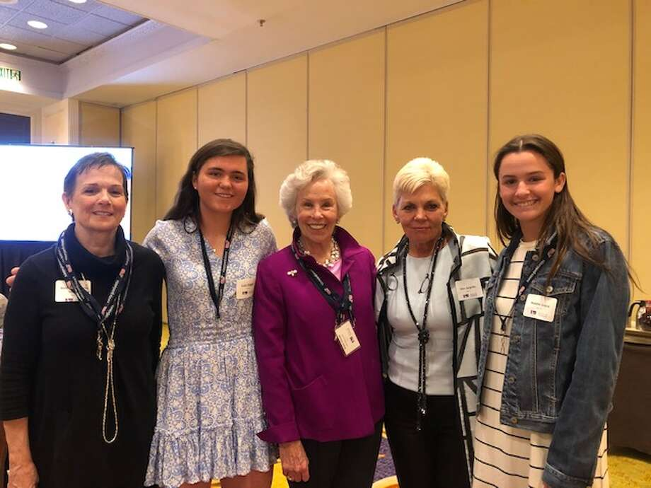 Beth Harrington-Howes, left, co-president of Respect Works, Catie Duggan, Robin Woods (DVCC), Darien Sport Shop President Gina Zangrillo, Respect Works co-President Maddie Joyce. Missing from picture is Respect Works co-president Charlotte Sulgar.
