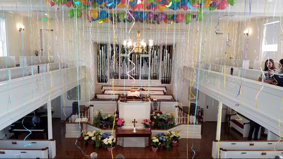 First Congregational Church of Darien's Easter balloons. (courtesy FCC of Darien)