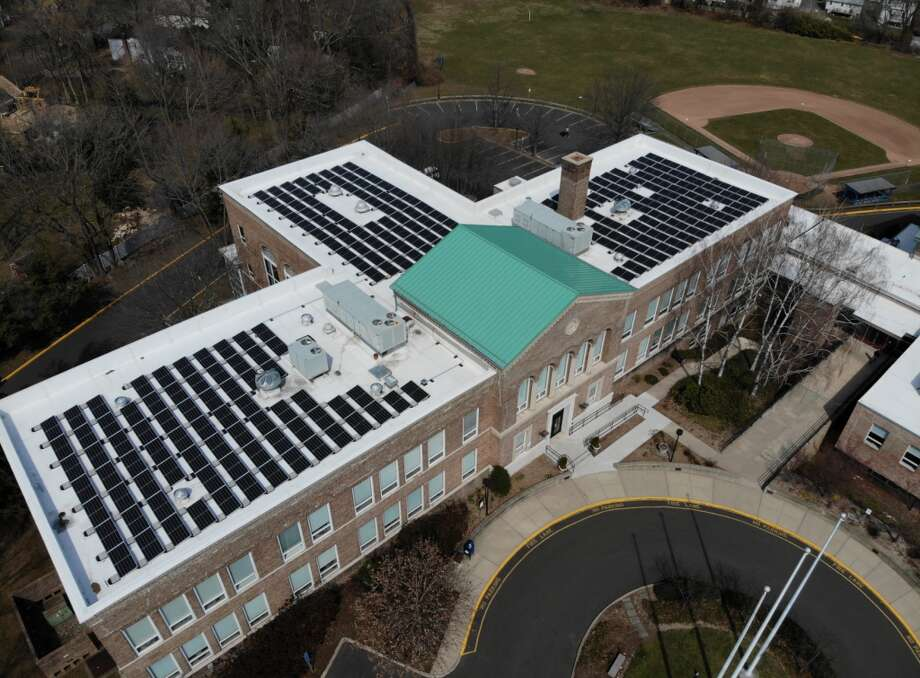 Solar panels at Darien's Town Hall