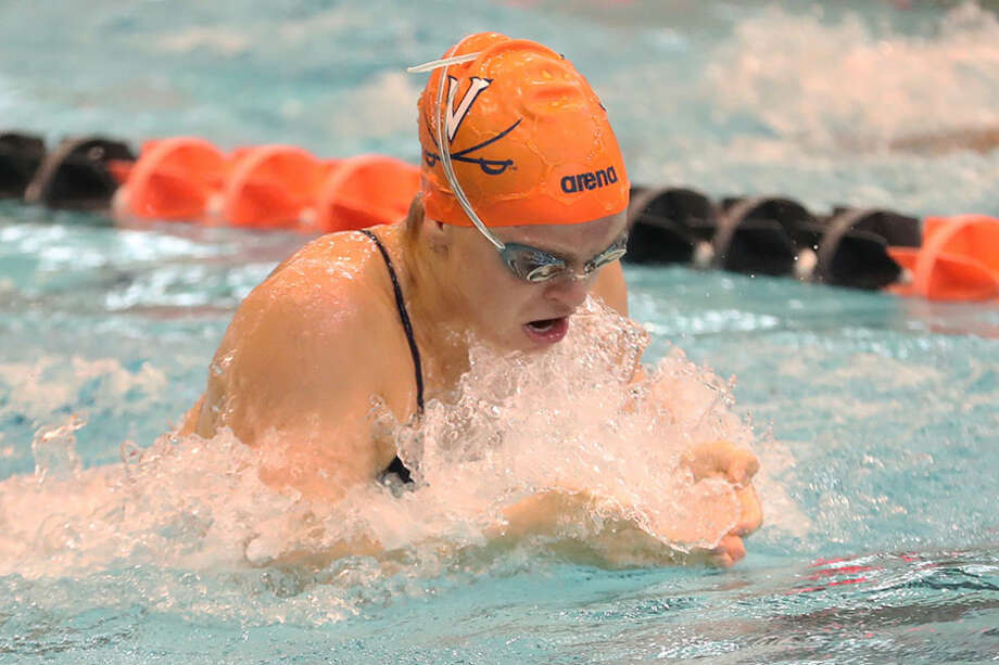 Darien's Kaki Christensen, a freshman on the University of Virginia swim team, competes in the 200-yard breaststroke. — Virginia Athletics photo