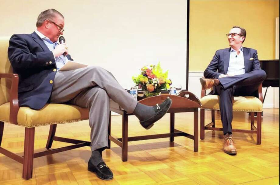 Charlie Collier, chief executive officer, Fox Entertainment, answers questions from Jeff Hamill, executive vice president, Hearst Magazines, at the Darien Community Association. — Sandra Diamond Fox photo