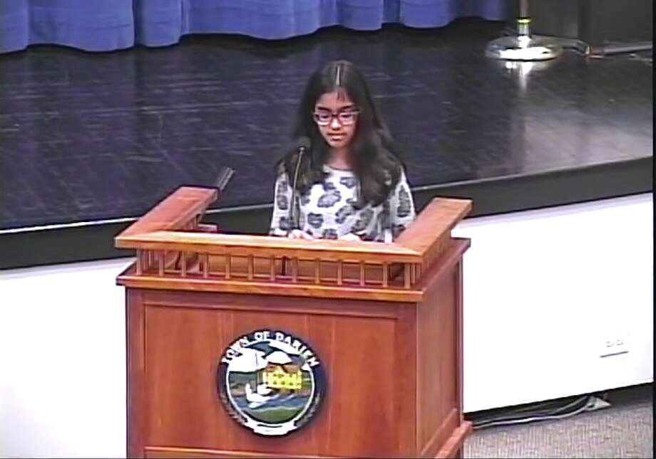 Sixth-grader Anoushka Muchhal spoke up in favor of the proposed plastic bag ordinance at the March 27 RTM Public Hearing — Sandra Diamond Fox photo