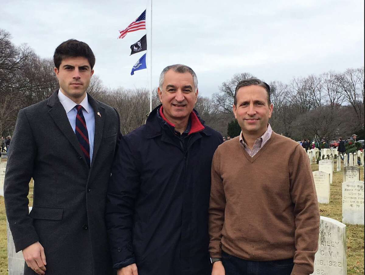 State Rep. Matt Blumenthal, Sen. Carlo Leone, and Sen. Bob Duff at Darien's Wreaths Across America ceremony in December. (Courtesy Sen. Carlo Leone's Twitter feed)