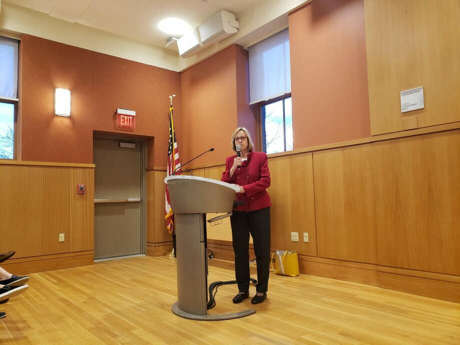 State Rep. Terrie Wood spoke at a Community Conversation at the Darien Library on Thursday, March 14. — Sandra Diamond Fox photo