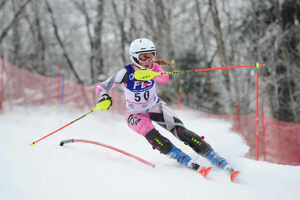 Darien's Devin Hart competes for the Blue Wave ski team this season. - Tom Martin photo