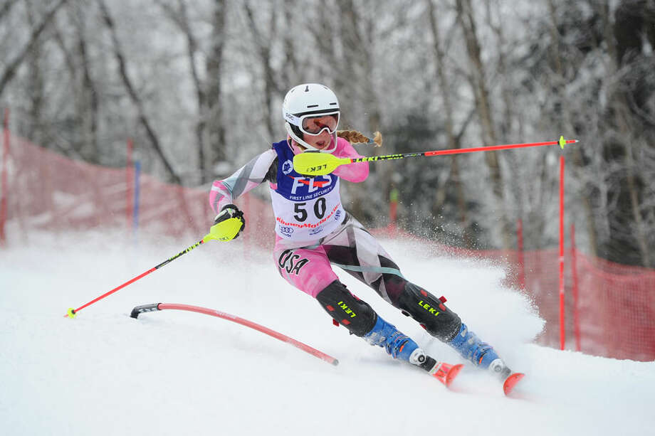 Darien's Devin Hart competes for the Blue Wave ski team this season. - Tom Martin photo / AFP