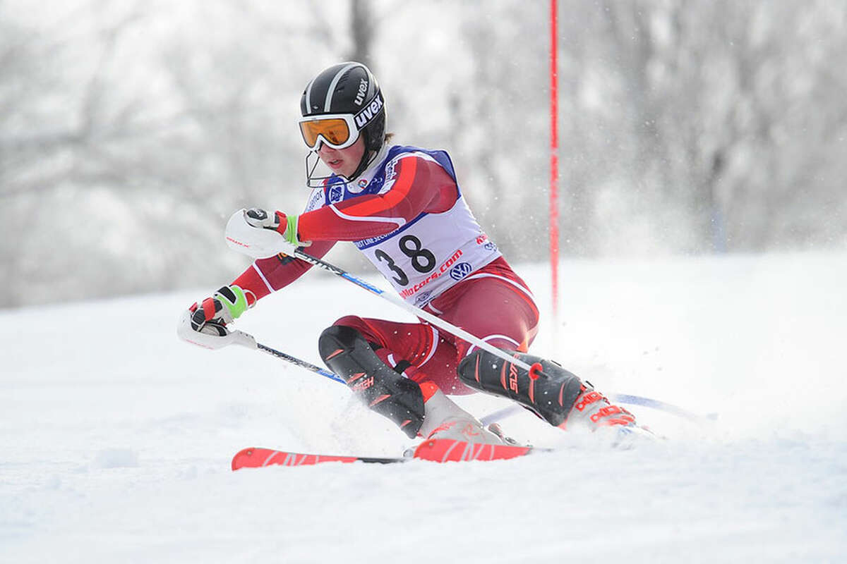 Darien's Chase Gulick competes for the Blue Wave ski team this season. - Tom Martin photo