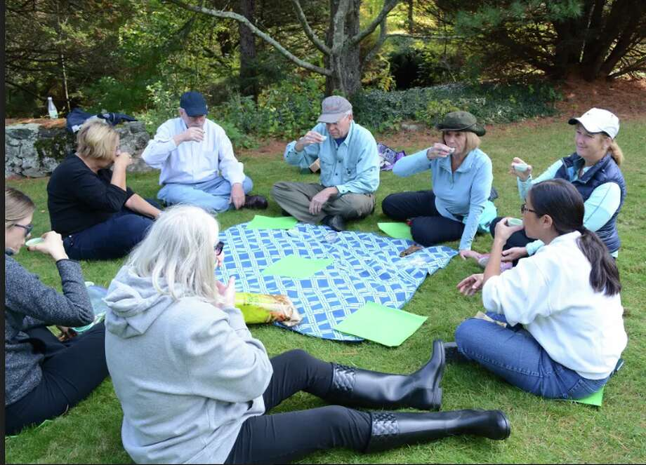 Members of the Tree Conservancy of Darien at a tea ceremony following a forest bathing walk in Stamford.