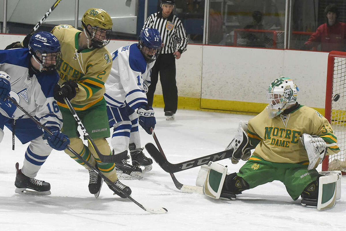 Darien's Sean Bradley (16) tips the puck past Notre Dame-West Haven goalie Conner Smith during a boys ice hockey game at the Darien Ice House on Thursday, Feb. 21. - Dave Stewart/Hearst Connecticut Media photo