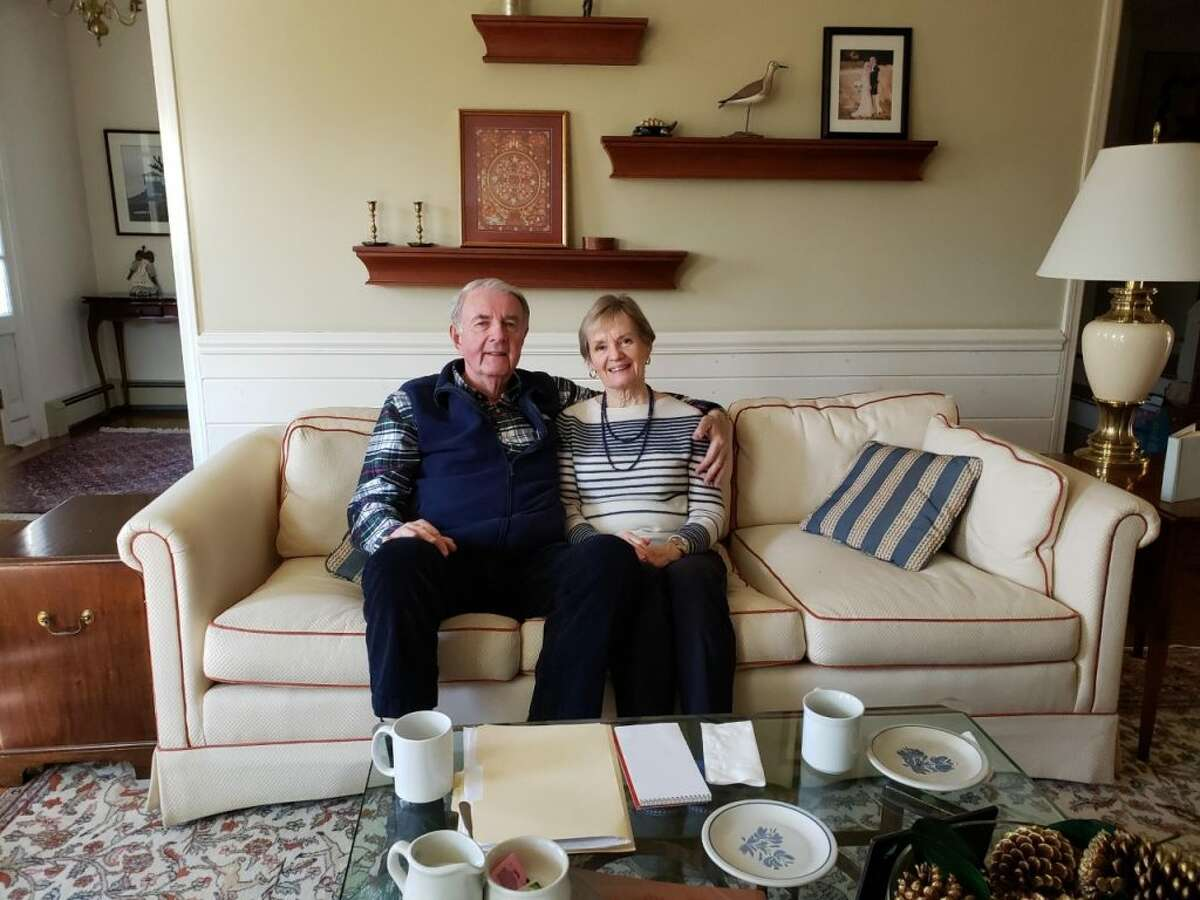 Vin and Lynne Burke in their Darien home. - Sandra Diamond Fox photo