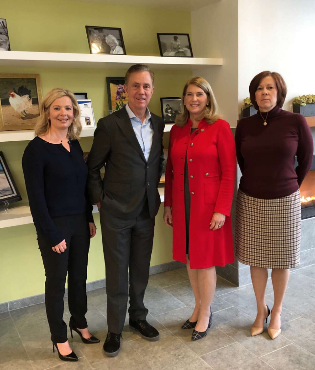 Governor Ned Lamont visited Darien Monday and met with Board of Ed Chairman Tara Ochman, left, First Selectman Jayme Stevenson, and Town Administrator Kate Clarke Buch.