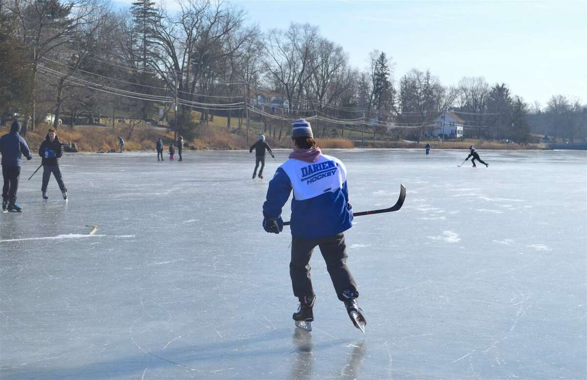 There were many local hockey players on hand at Gorham's Pond on Saturday, Feb. 2, 2019, in Darien - all photos Jarret Liotta/Hearst Media Group.
