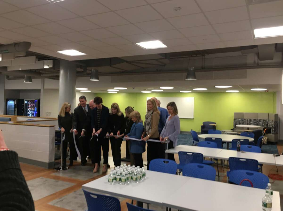 School and town officials along with volunteers recently cut the ribbon on the new Darien High School cafeteria.
