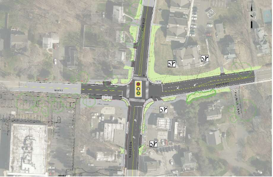 New traffic signal and pavement markings are part of the Noroton Avenue/West Avenue Intersection Improvement Project that will be constructed in Darien.