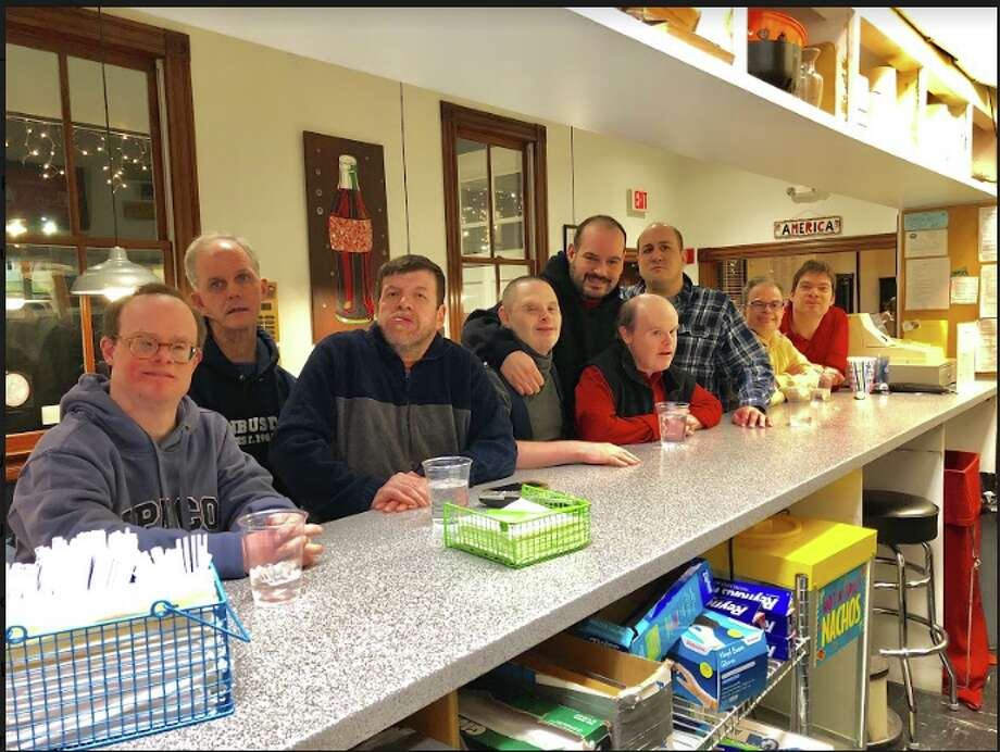 The FunBusters gang hanging out at the Darien Depot Teen Center. From left, David D'Andrea, Ken Fahey, Kevin Pirro, Joshua Judge, Neftali Soto, Thomas Gallagher, Paul Socci, Adriano Gatto, Tom Gogolak.