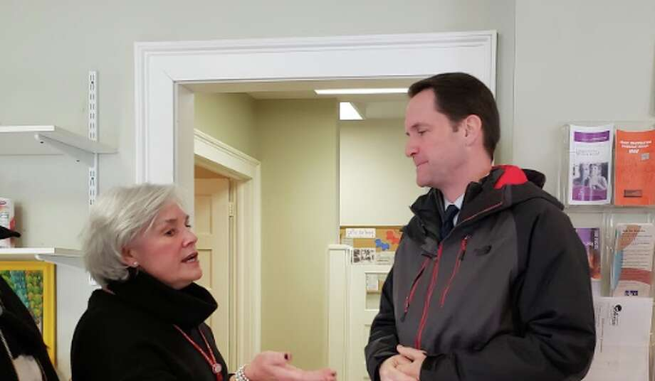 On Tuesday, Jan. 22, Congressman Jim Himes (D-4) visited Person-to-Person in Darien and spoke with Executive Director Ceci Maher about the effects of the partial government shutdown. — Sandra Diamond Fox photo