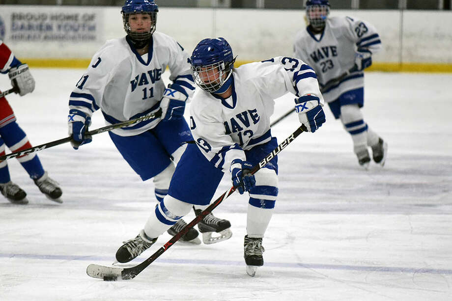 Darien's Ceci Stein (13) skates through the neutral zone during the Blue Wave's 6-2 win over West Haven/SHA at Stamford Twin Rinks on Wednesday, Jan. 16. — Dave Stewart/Hearst Connecticut Media