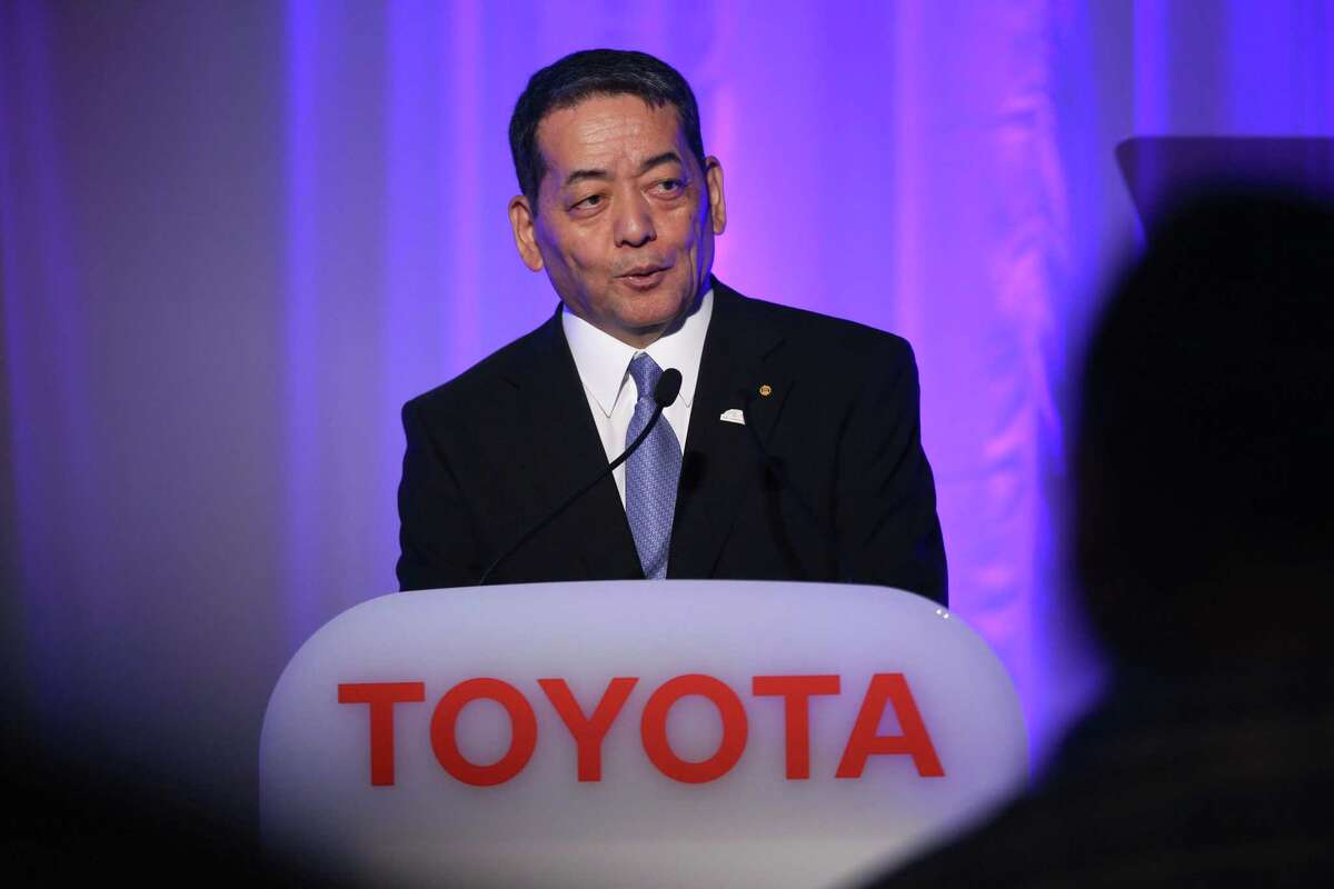 Shigeki Terashi, executive vice president at Toyota Motor Corp., speaks during a news conference in Tokyo, Japan, on Friday, June 7, 2019. Toyota tapped China's biggest makers of electric-car batteries as global automakers race to bring out vehicles that meet stricter emission rules. Photographer: Kentaro Takahashi/Bloomberg