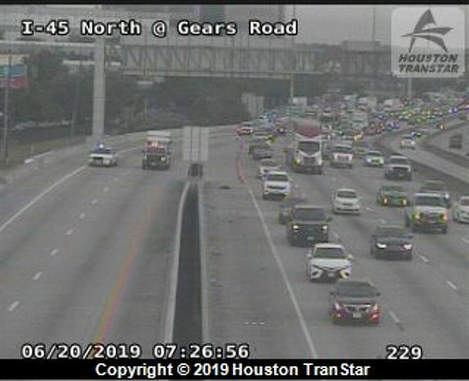 A large chunk of concrete from a highway fell onto the Interstate 45 service road near Beltway 8, slowing southbound traffic, according to authorities. Photo: Houston TranStar