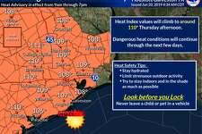 """Meteorologists with the National Weather Service say heat indices, or """"feels like"""" temperatures, will reach upwards of 110 degrees Thursday, June 20, 2019."""