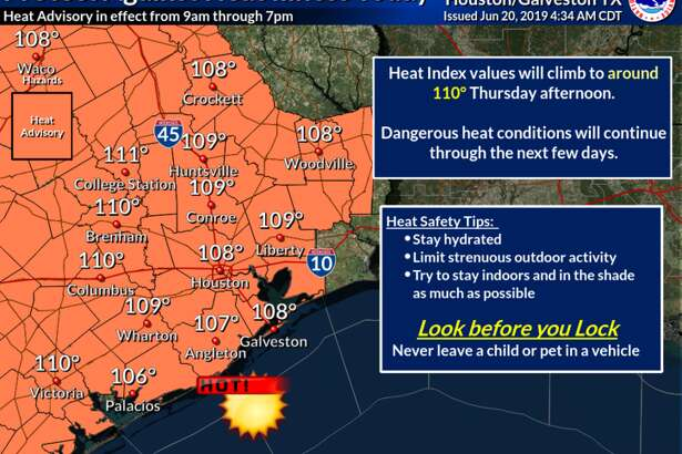 "Meteorologists with the National Weather Service say heat indices, or ""feels like"" temperatures, will reach upwards of 110 degrees Thursday, June 20, 2019."