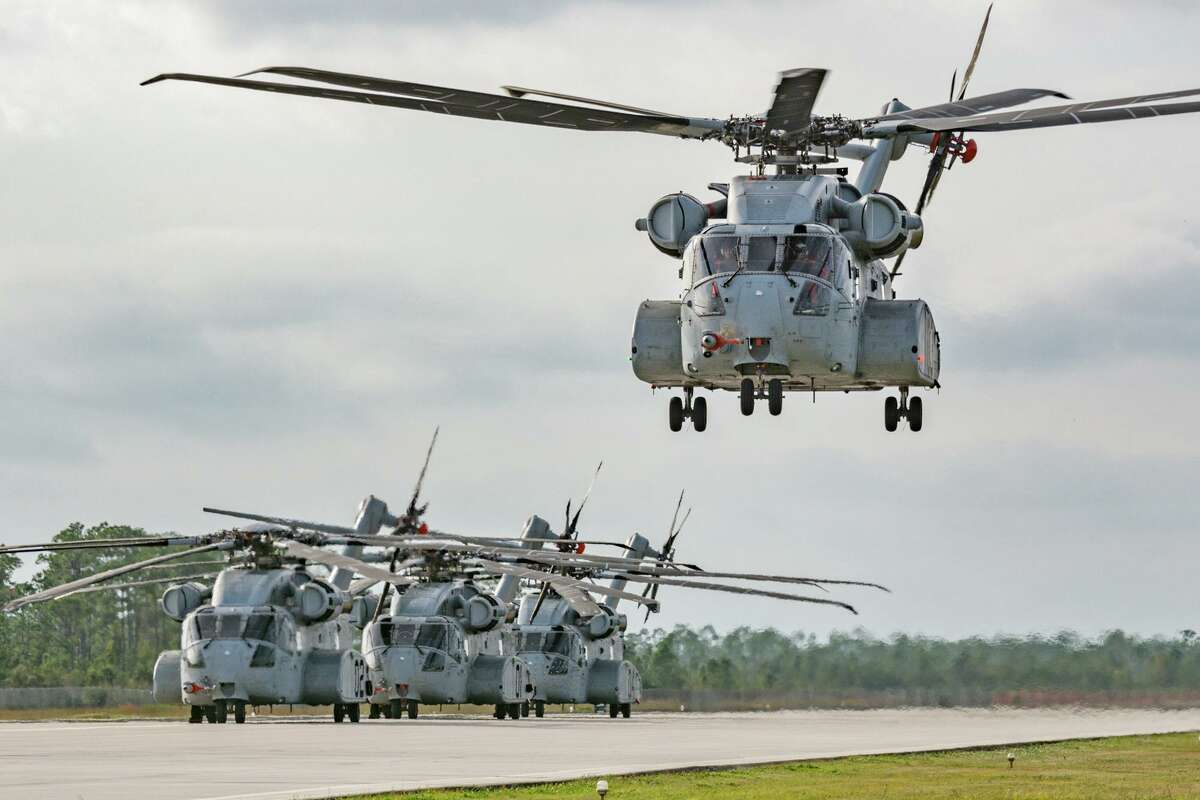 Prototype CH-53k King Stallion helicopters built by Stratford, Conn.-based Sikorsky Aircraft.