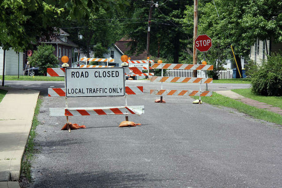 Construction barriers on Lake Drive Tuesday west of Madison Avenue ensure any traffic is local only as work on Hale Avenue begins. Photo: Charles Bolinger | The Intelligencer